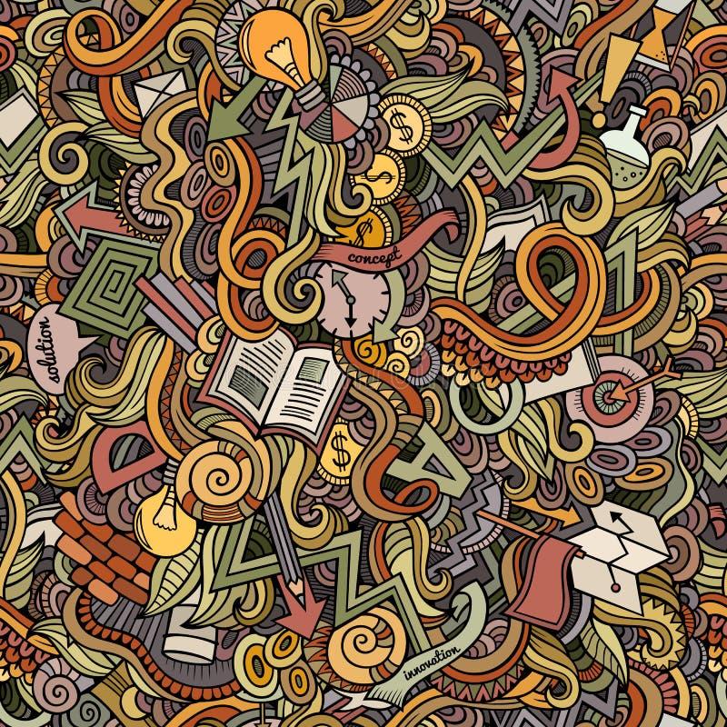 Nette Gekritzel der Karikatur übergeben gezogener Idee nahtloses Muster stock abbildung