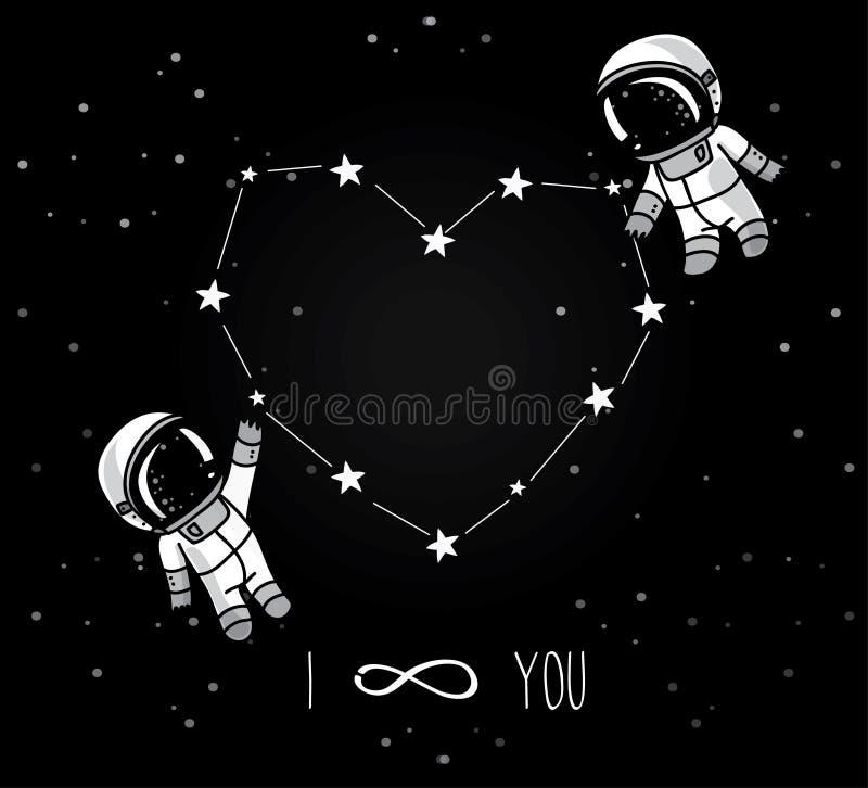 Nette Gekritzelastronauten verbinden und Herz gebildete Konstellation stock abbildung