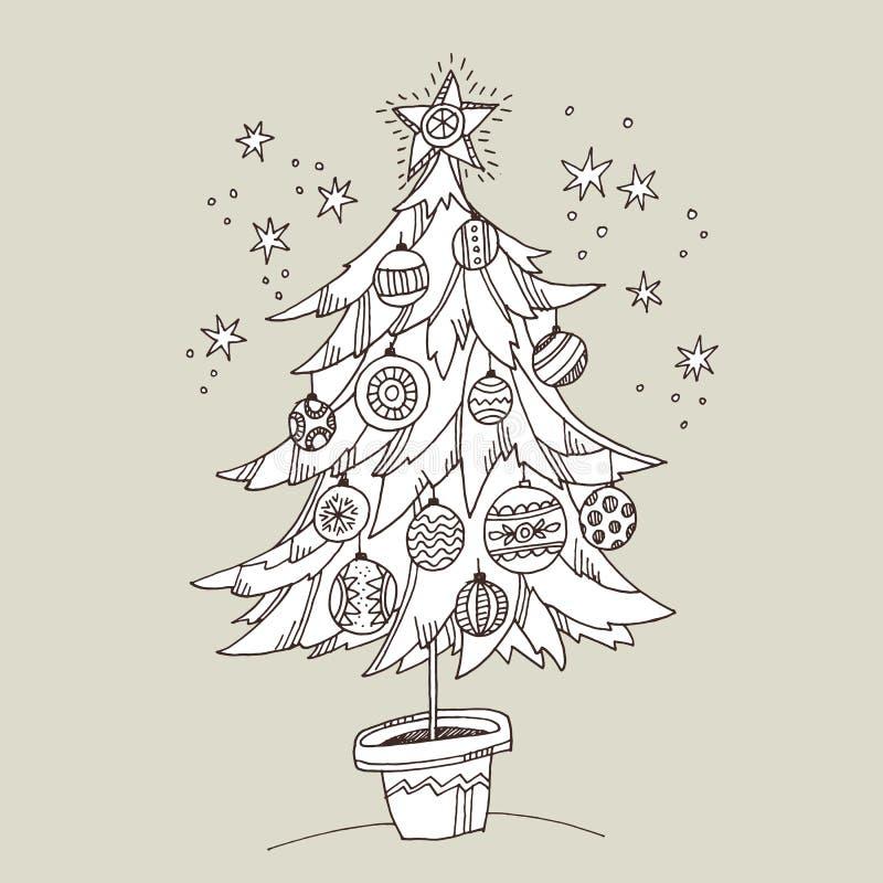 Nette Gekritzelhandgezogener Weihnachtsbaum für die Färbung vektor abbildung