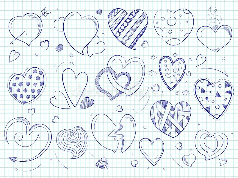Nette Gekritzelherzen, Liebeskugelschreiber gezeichnet lizenzfreie abbildung