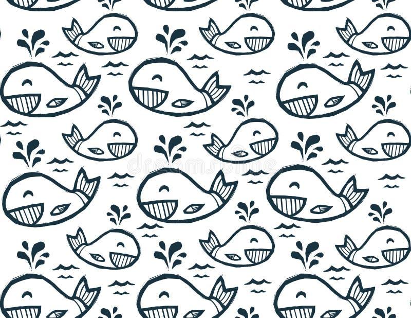Nette Gekritzelwale in der Karikaturart, vector nahtloses Muster lizenzfreie abbildung