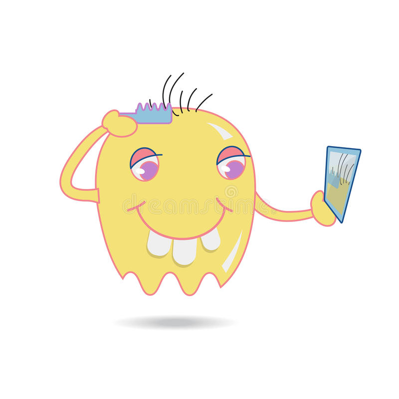 Nette gelbe Karikaturbürste sein Haar durch das Schauen im Spiegel stock abbildung