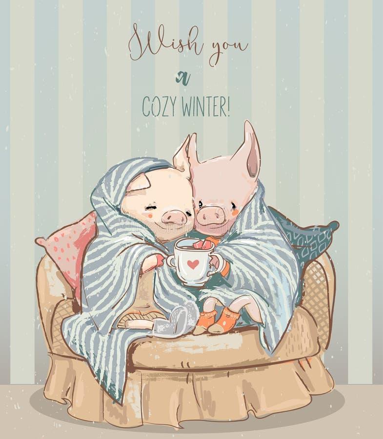 Nette gemütliche Winterpaare von Schweinen Leuchte des Vektorart stock abbildung