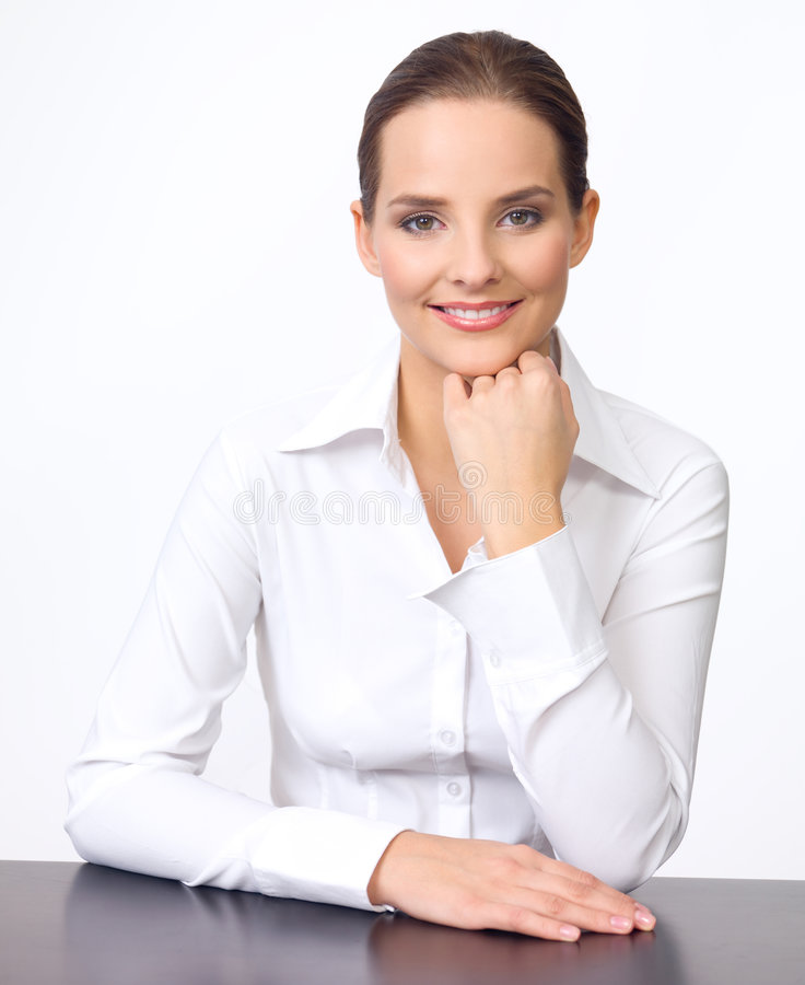 Nette Geschäftsfrau stockbild