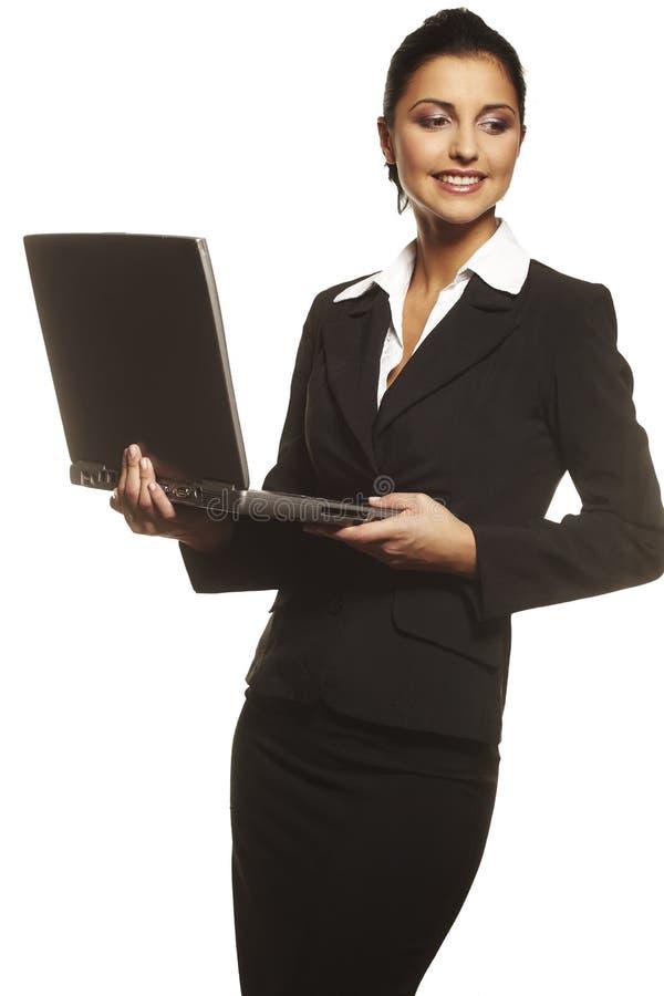 Nette Geschäftsfrau auf weißem Hintergrund lizenzfreies stockfoto