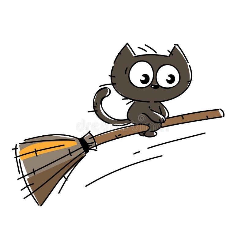 Nette gespenstische schwarze Katze auf Halloween-Nacht stock abbildung