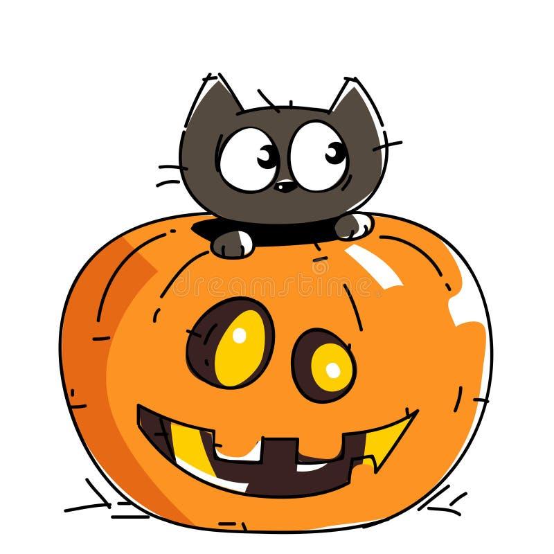 Nette gespenstische schwarze Katze auf Halloween-Nacht lizenzfreie abbildung