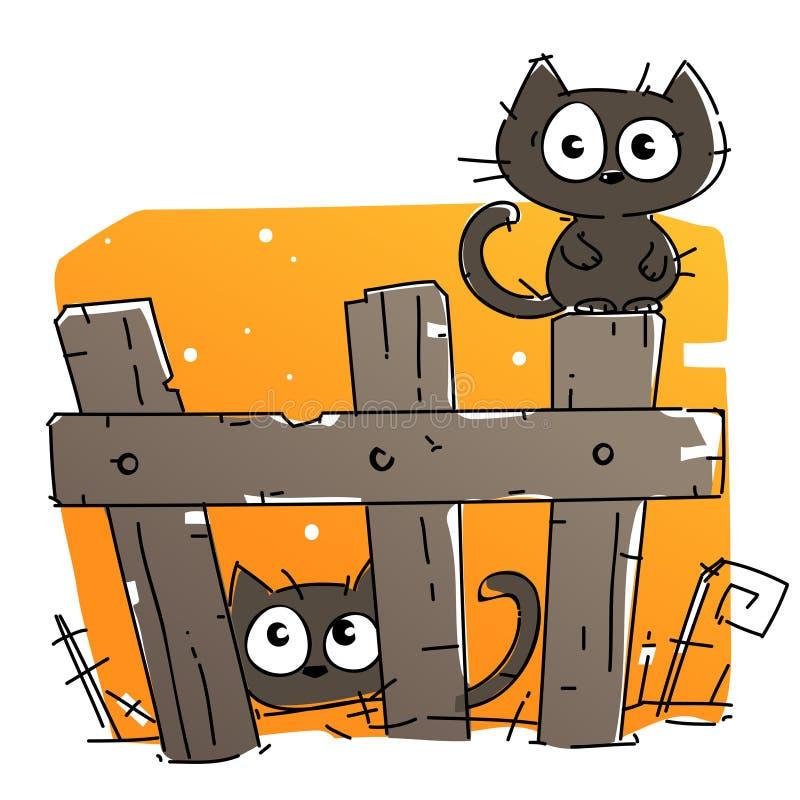 Nette gespenstische schwarze Katzen auf Halloween-Nacht stock abbildung