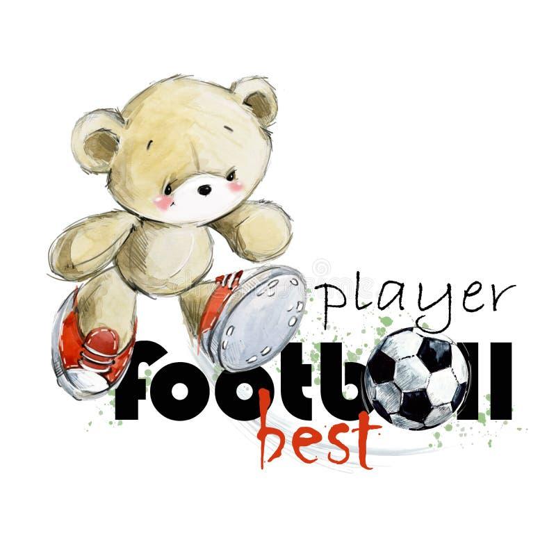 Nette gezeichnete Aquarellillustration des Teddybär Fußballspielers Hand Bester Fußballspieler lizenzfreie abbildung