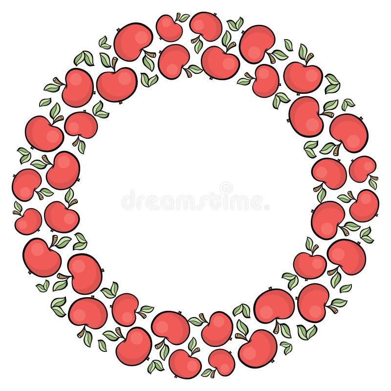 Nette gezeichneter roter Apfelrahmen der Karikaturart Hand stock abbildung
