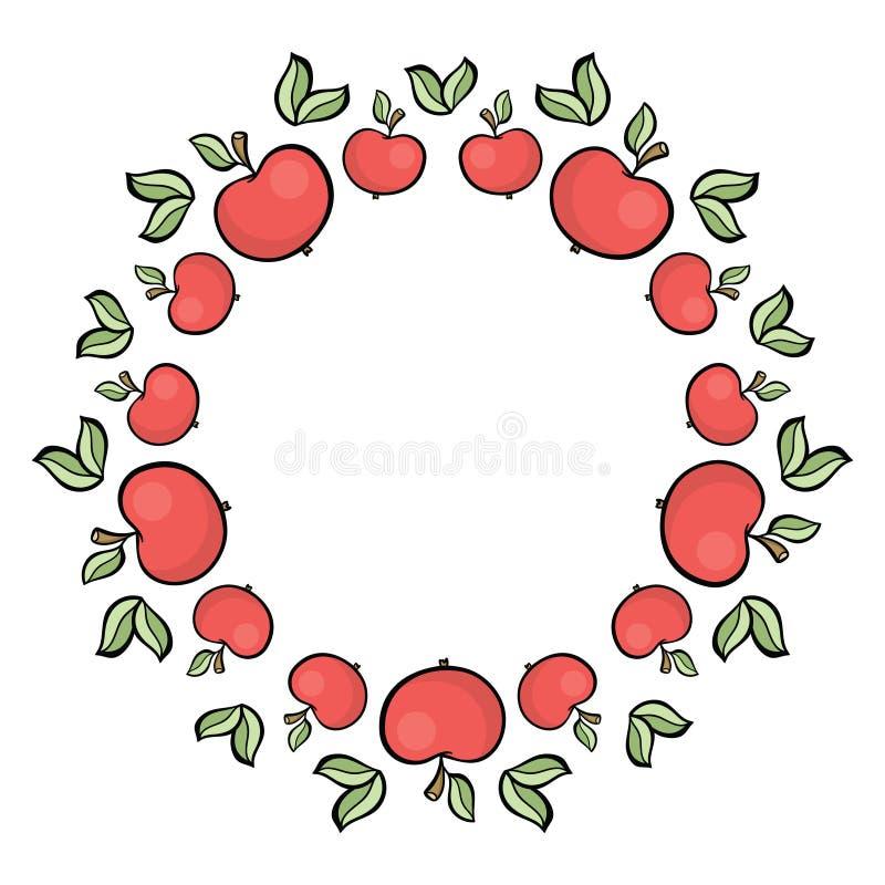 Nette gezeichneter roter Apfelrahmen der Karikaturart Hand lizenzfreie abbildung
