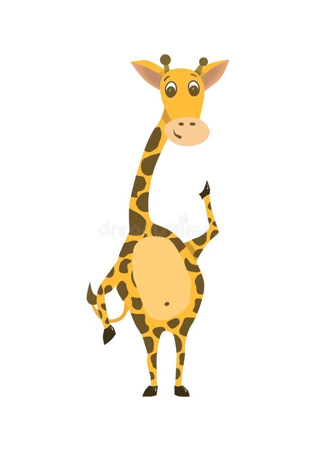 Nette Giraffe mit der wellenartig bewegenden Hand Flaches Design für Karten, Drucke, De stock abbildung
