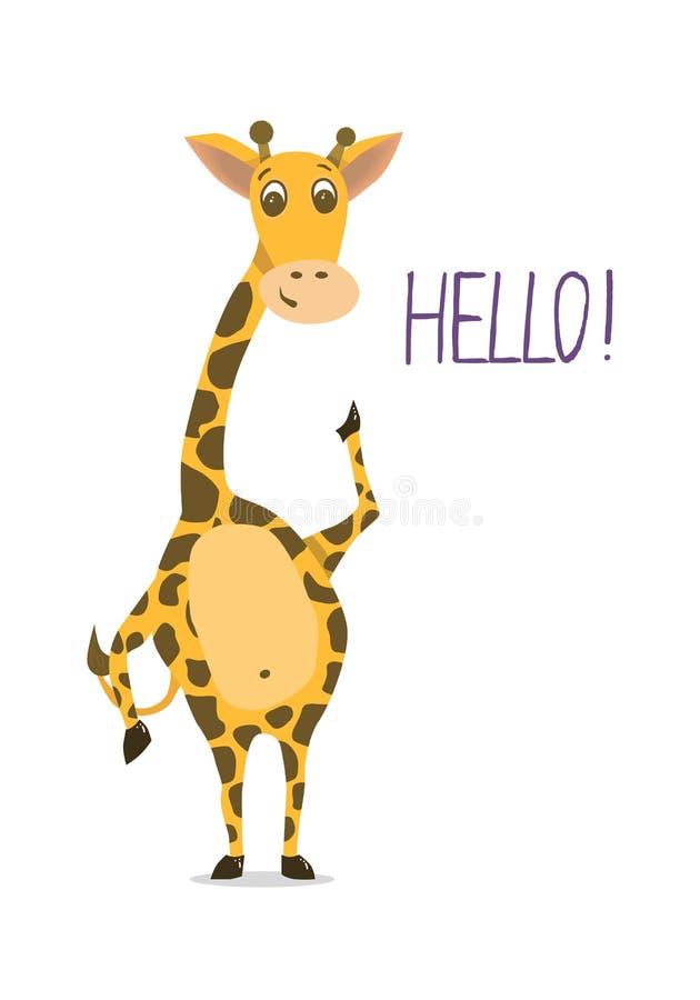 Nette Giraffe mit der wellenartig bewegender Hand und Wort hallo Flaches Design für Ca stock abbildung