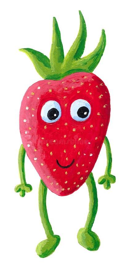 Nette glückliche Erdbeere mit Gesicht lizenzfreie abbildung