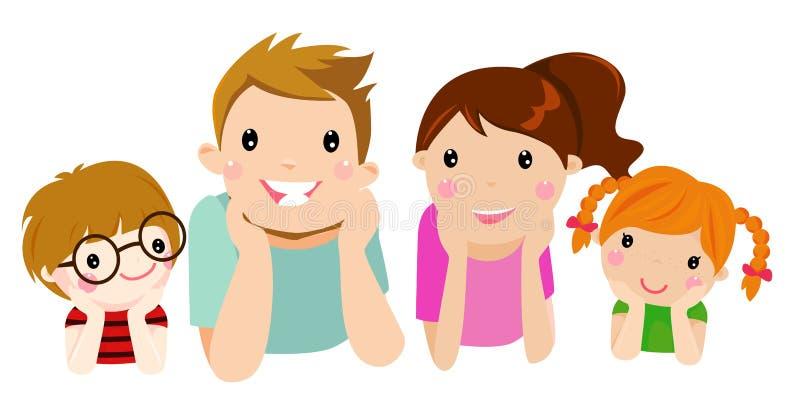 Nette glückliche Familie lizenzfreie abbildung