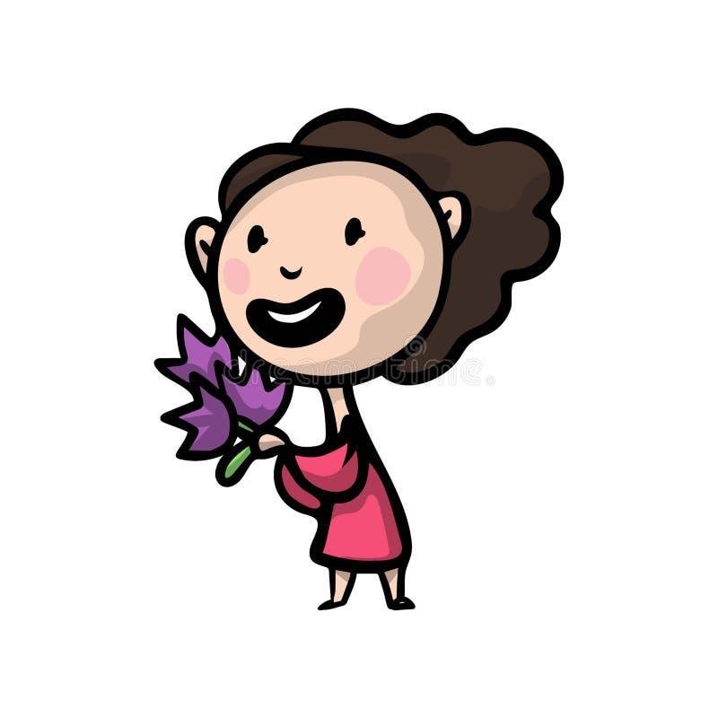 Nette glückliche Frau im roten Kleid mit Blumenblumenstrauß vektor abbildung