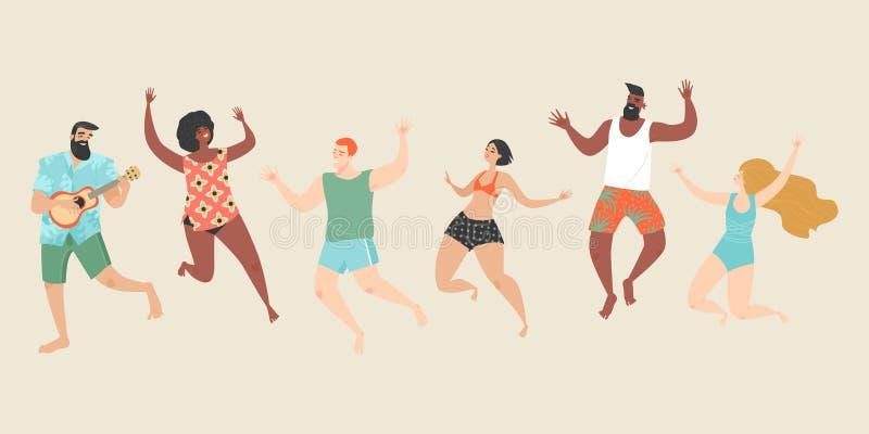 Nette glückliche junge Leute in der Strandkleidung und in den Badeanzügen springen auf den Strand lizenzfreie abbildung