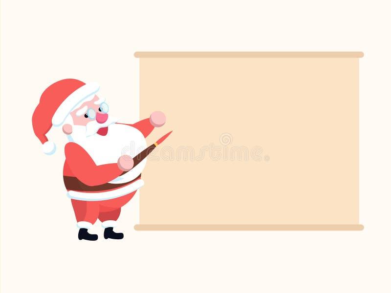 Nette glückliche Karikatur Santa Claus mit Pinsel vor blan vektor abbildung