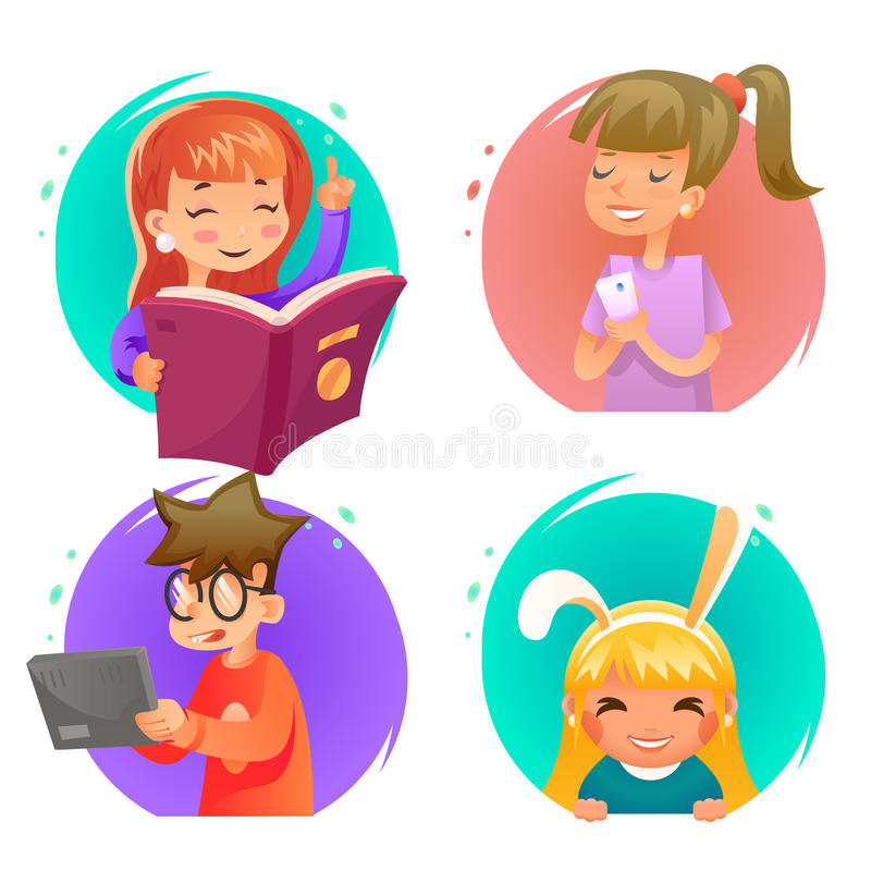 Nette glückliche Kinder Junge und Mädchencharaktere stellten Karikaturdesign-Vektorillustration ein stock abbildung