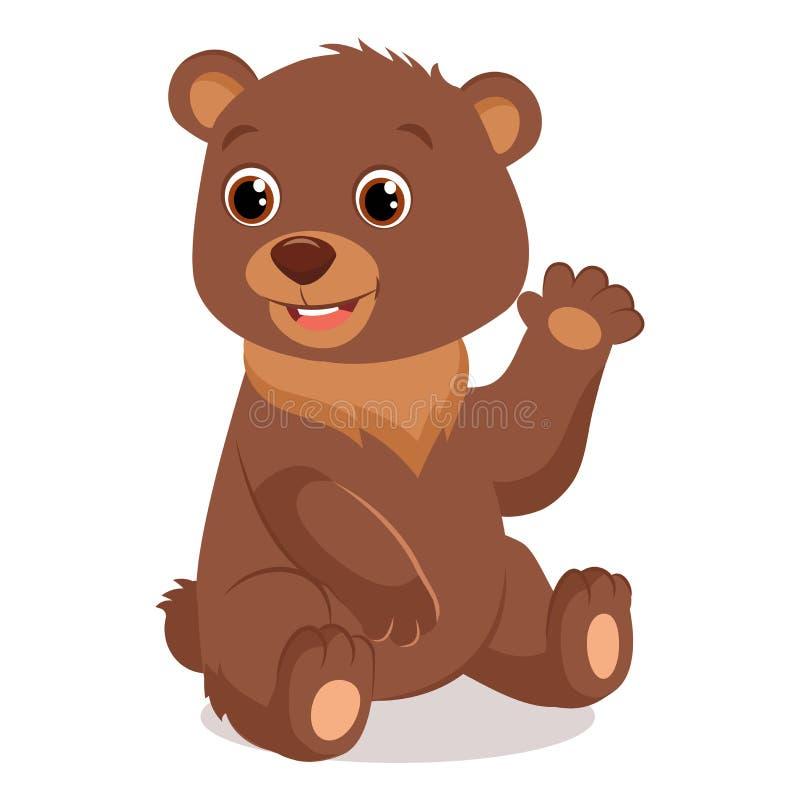 Nette glückliche kleine Bärn-Vektor-Illustration Teddy Bear Waving Hand vektor abbildung