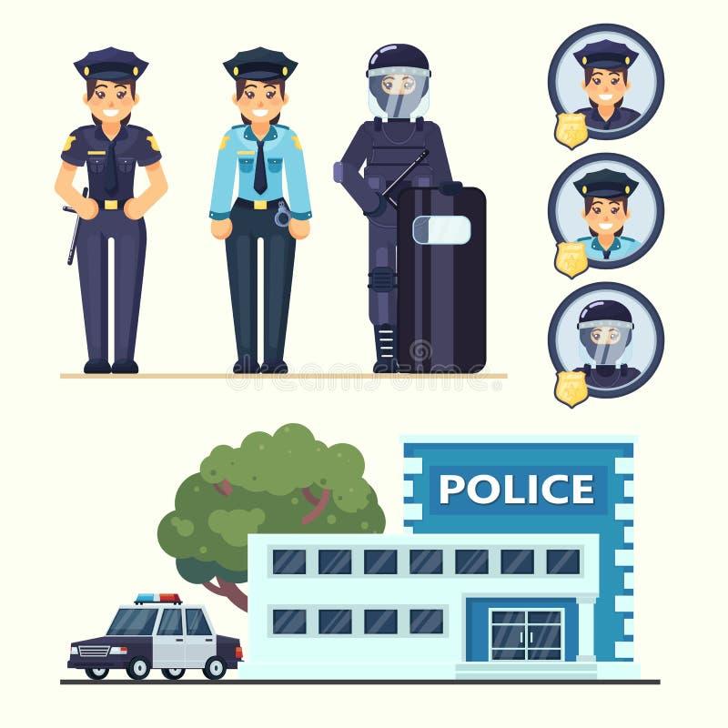 Nette glückliche Polizistinvertreter, die im einheitlichen Vektoroffizier mit Auto und in der Station im flachen Artebenensatz ar stock abbildung