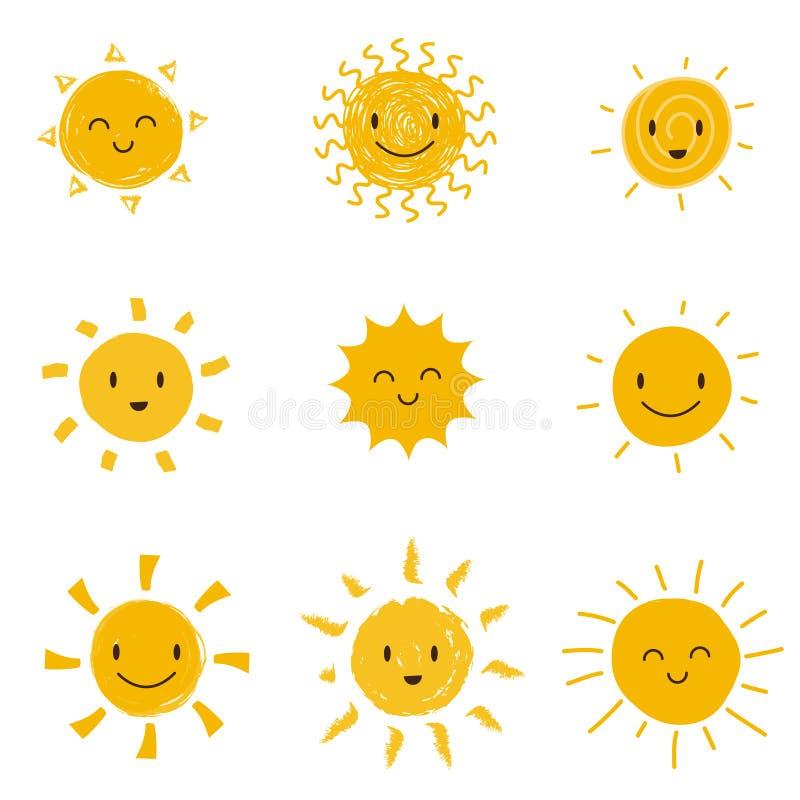 Nette glückliche Sonne mit smileygesicht Sommersonnenschein-Vektorsatz lokalisiert stock abbildung