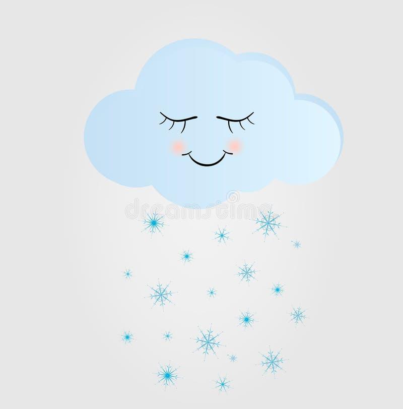 Nette glückliche Wolke mit Schneeflocken-, Druck-oder Ikonen-Vektor-Illustration stock abbildung