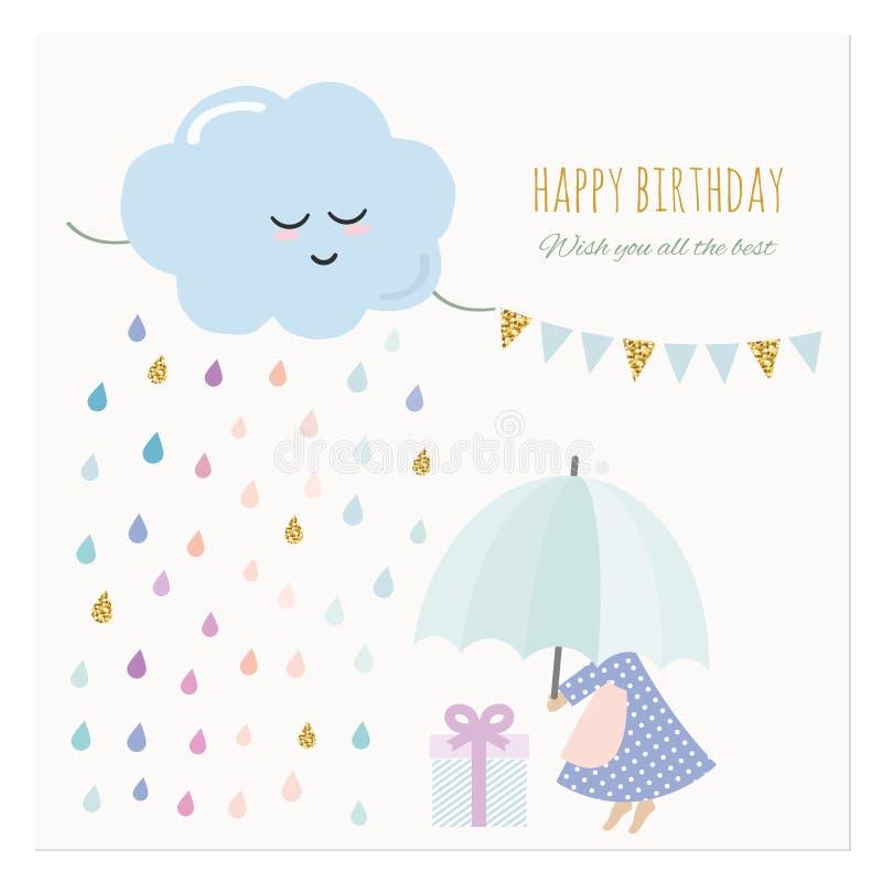 Nette Glückwunschkarte mit kleinem Mädchen und bunten Regentropfen Aquarellkarikaturen mit Funkelnelementen vektor abbildung