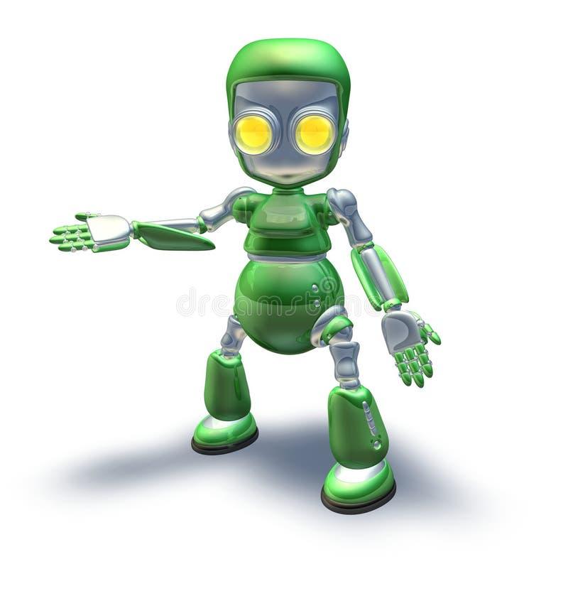 Nette grüne Metallroboter-Zeichenvertretung vektor abbildung