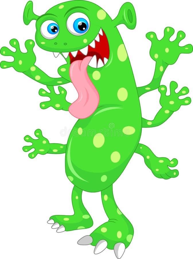Nette grüne Monsterkarikatur vektor abbildung
