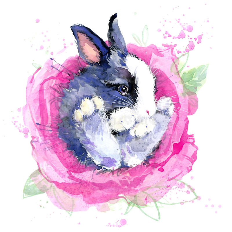 Nette Häschenblume feenhafte T-Shirt Grafiken feenhafte Illustration des Häschens mit Spritzenaquarell maserte Hintergrund stock abbildung