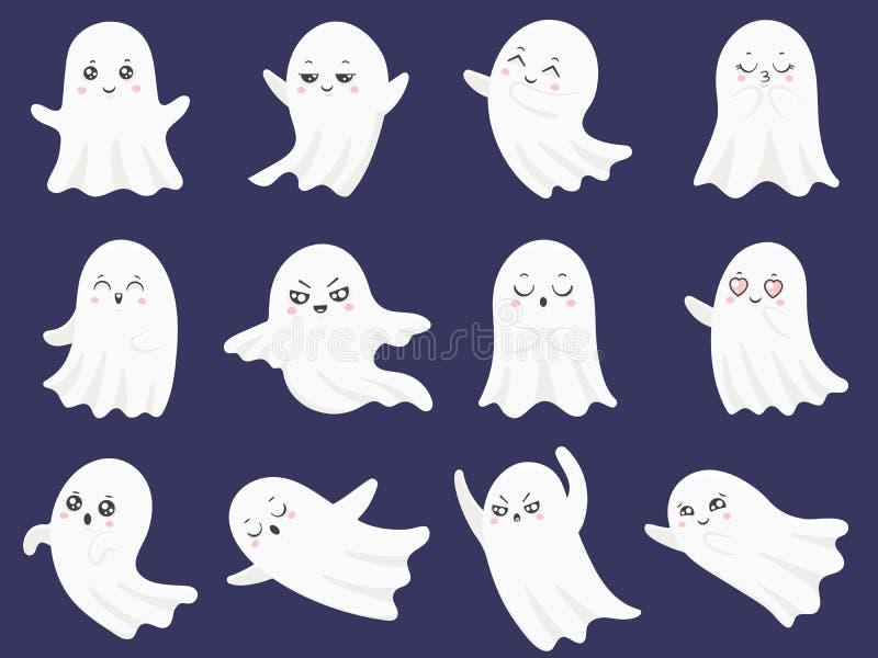 Nette Halloween-Geister Erschrockener lustiger Geist, neugieriges Gespenst und lächelnde gespenstische Charakterkarikaturvektoril vektor abbildung