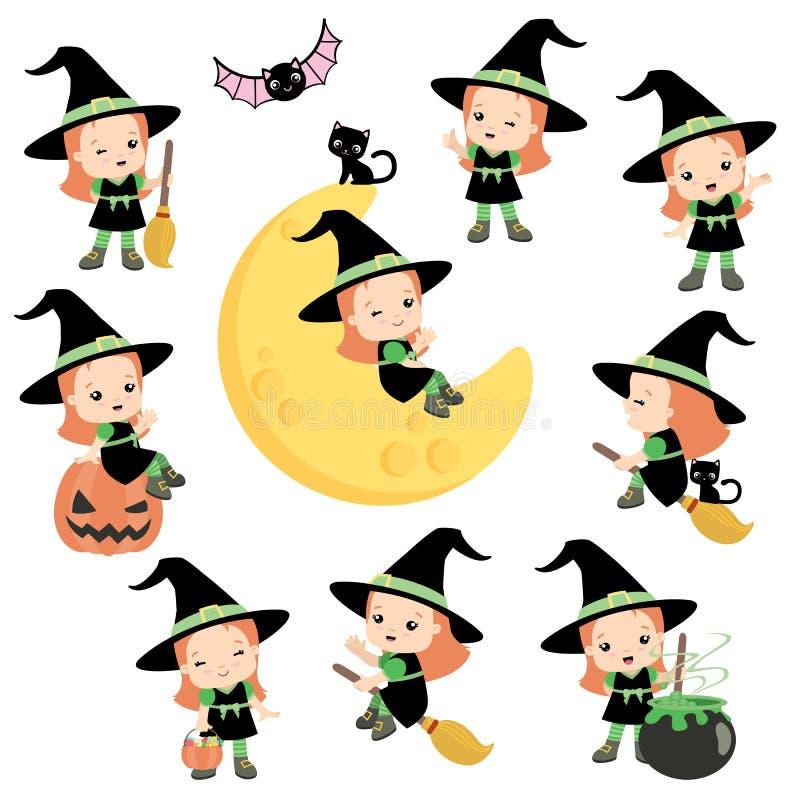 Nette Halloween-Hexe mit dem orange Haar, das Gestaltungselemente aufwirft, legte die flache Vektor-Illustration, die auf Weiß lo lizenzfreie abbildung