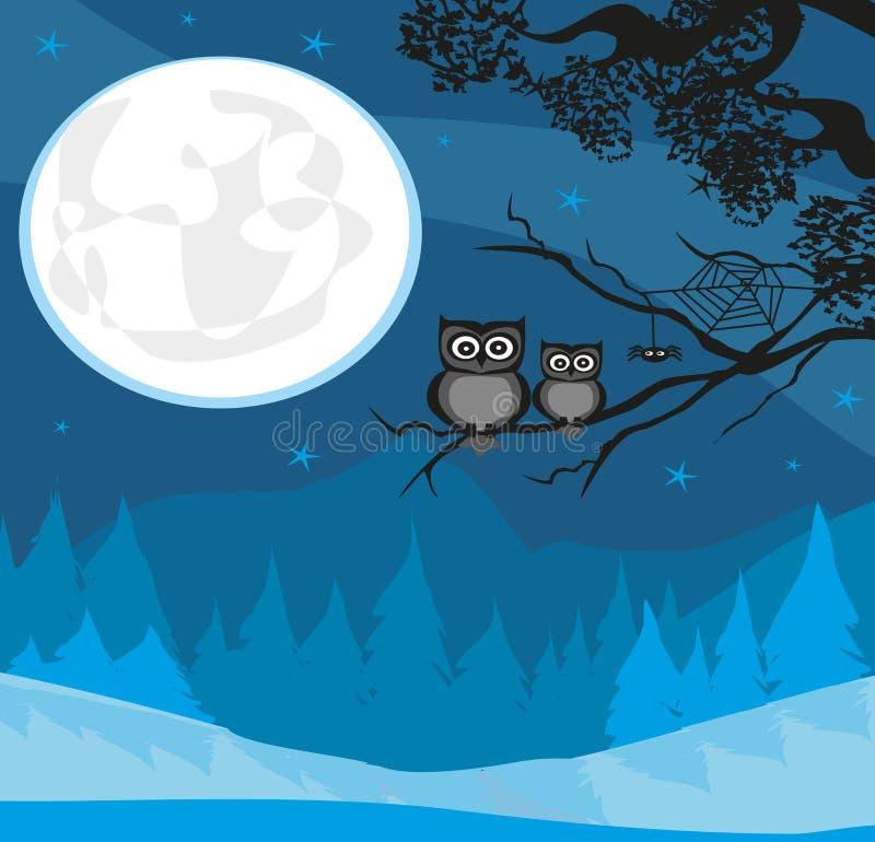 Nette Halloween-Illustration mit Vollmond und Eulen stock abbildung