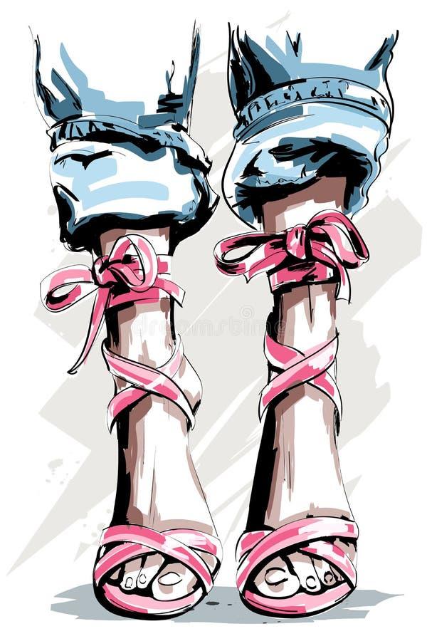 Nette Hand gezeichnete Beine in den Schuhen Schöne Sommerschuhe vektor abbildung