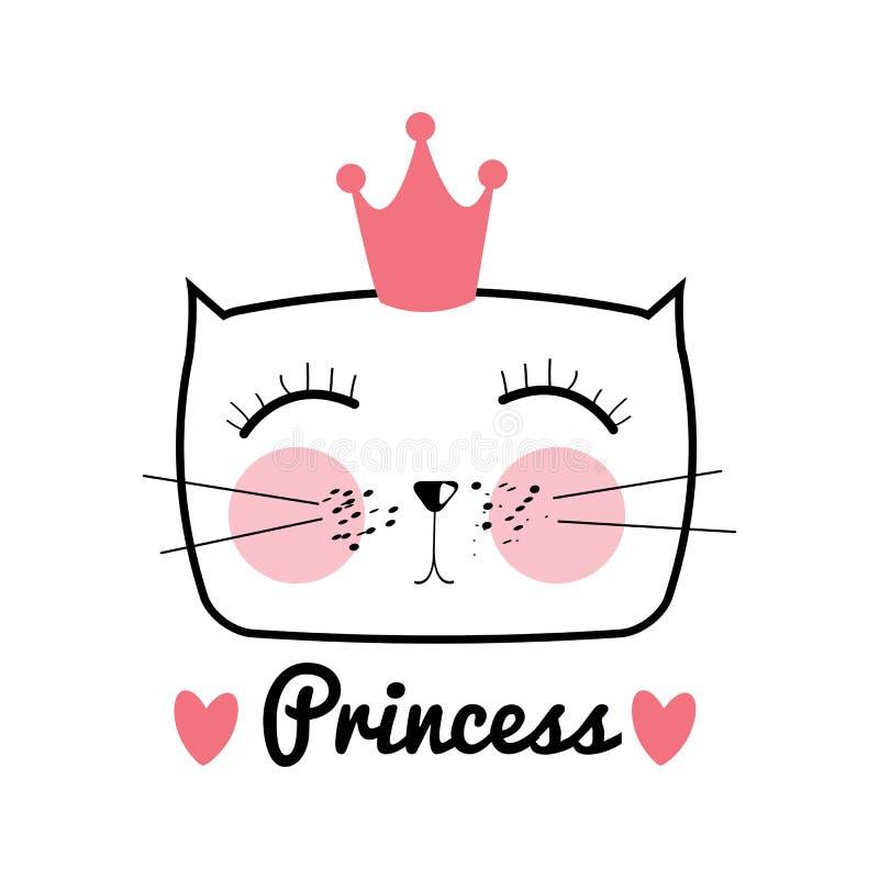 Nette Hand gezeichnete Cat Vector Illustration Kleine Prinzessin mit Cr vektor abbildung
