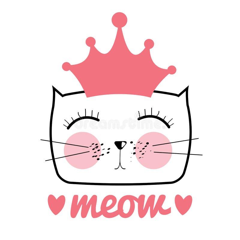 Nette Hand gezeichnete Cat Vector Illustration Kleine Prinzessin mit Cr lizenzfreie abbildung