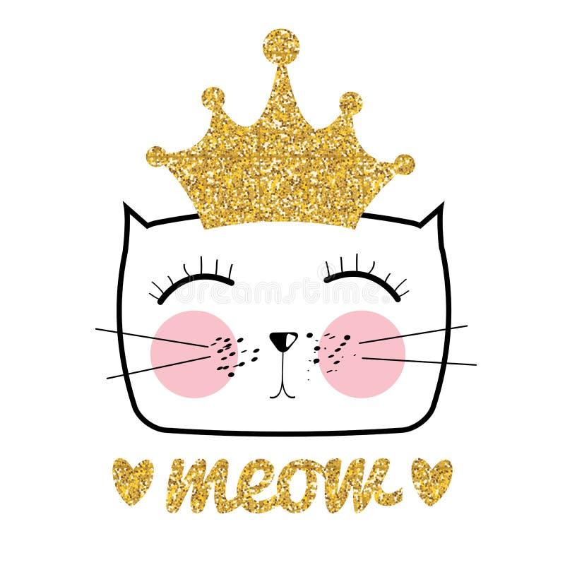 Nette Hand gezeichnete Cat Vector Illustration Kleine Prinzessin mit Kronen-Konzept vektor abbildung