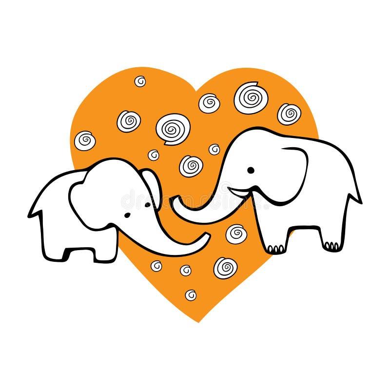 Nette Hand gezeichnete Elefanten Einfarbiges Vektorbild stock abbildung
