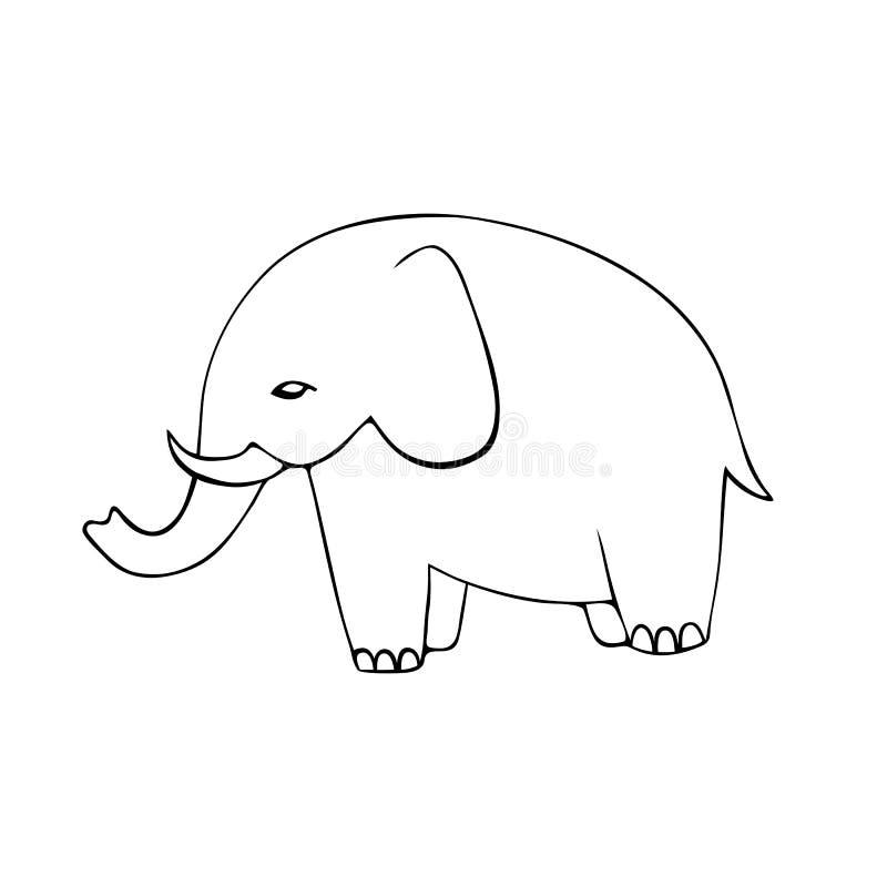 Nette Hand gezeichnete Elefanten Einfarbiges Vektorbild lizenzfreie abbildung