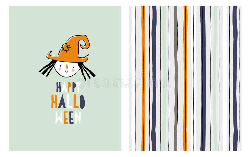 Nette Hand gezeichnete Halloween-Vektor-Illustration Kleine Hexe stock abbildung