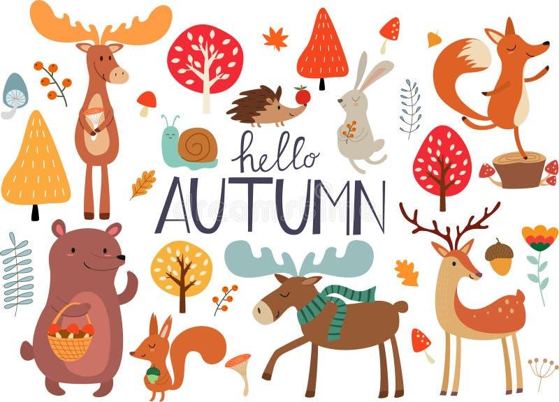 Nette Hand gezeichnete Herbstwaldtiere und Fallflorenelemente Ideen für Postkarten und Poster Photorealistic Ausschnittskizze vektor abbildung