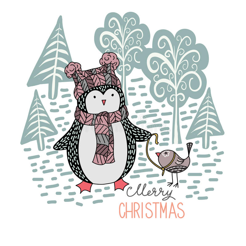 Nette Hand gezeichneter Pinguin mit einem kleinen Vogel auf einer Leine im Winterwald lizenzfreie abbildung