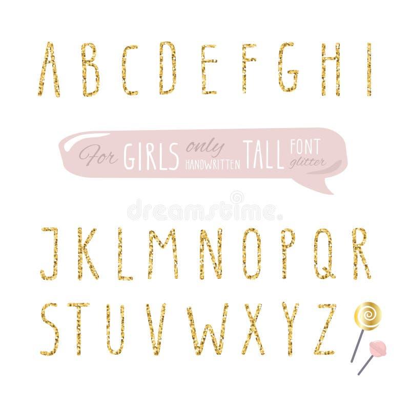 Nette Hand gezeichneter schmaler Funkelnguß für Mädchen Hohes glänzendes Alphabet Gekritzel geschriebene verkürzte dünne Briefe vektor abbildung