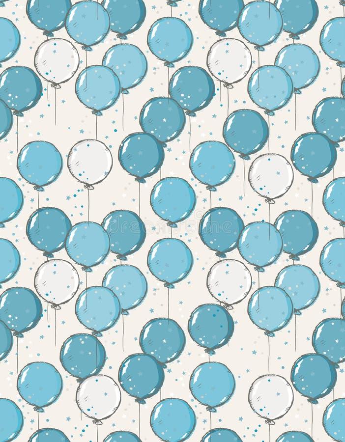 Nette Hand gezeichnetes Blau und Gray Balloons Vector Pattern lizenzfreie abbildung
