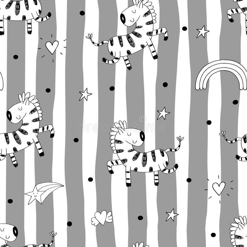 Nette Hand gezeichnetes nahtloses Muster des lustigen Zebras Auch im corel abgehobenen Betrag lizenzfreie abbildung