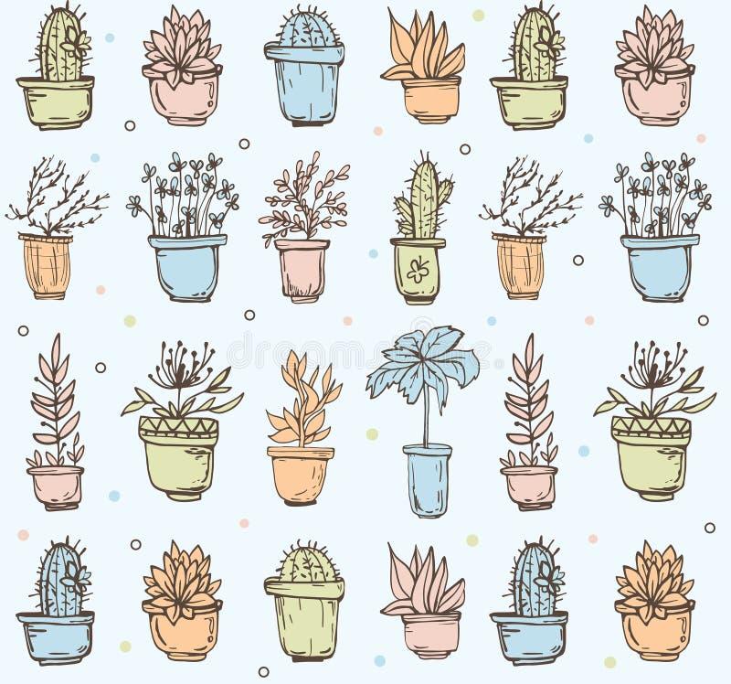 Nette Hand gezeichnetes nahtloses Muster mit Kaktus vektor abbildung
