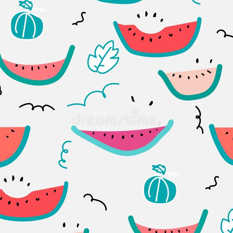 Nette Hand gezeichnetes Wassermelonen-Muster stock abbildung