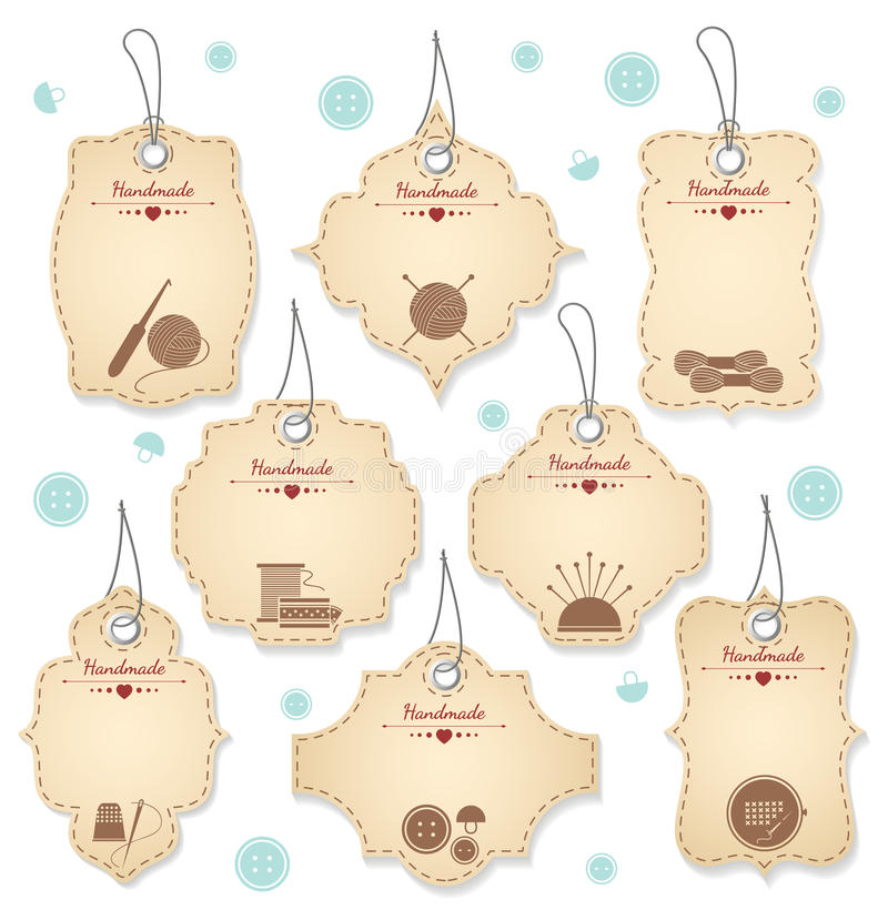 Nette handgemachte Tag-Designe für Needleowrks stock abbildung