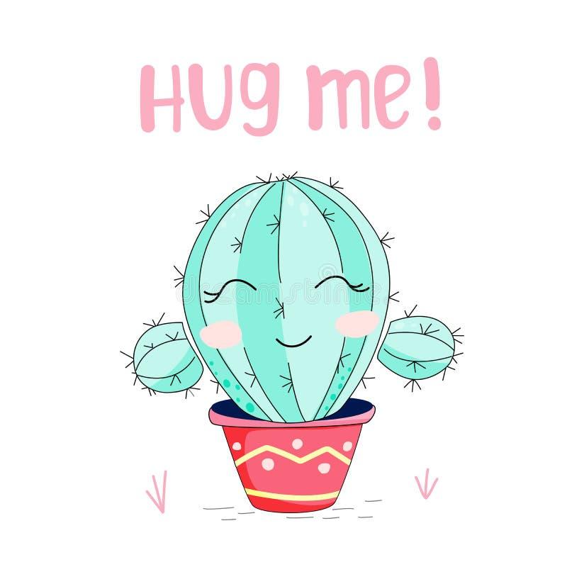 Nette Handgezogener Kaktus mit Buchstaben - umarmen Sie mich, lokalisiert auf Weiß lizenzfreies stockbild
